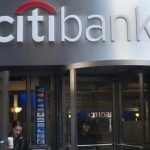 People exit a Citibank branch in New York