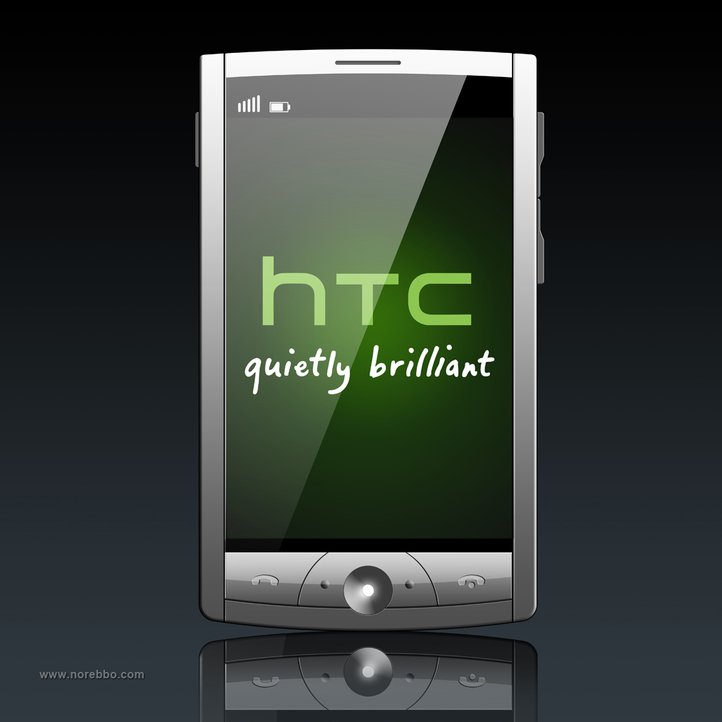 3d illustration of a simple touch screen mobile phone showing a glowing green HTC logo