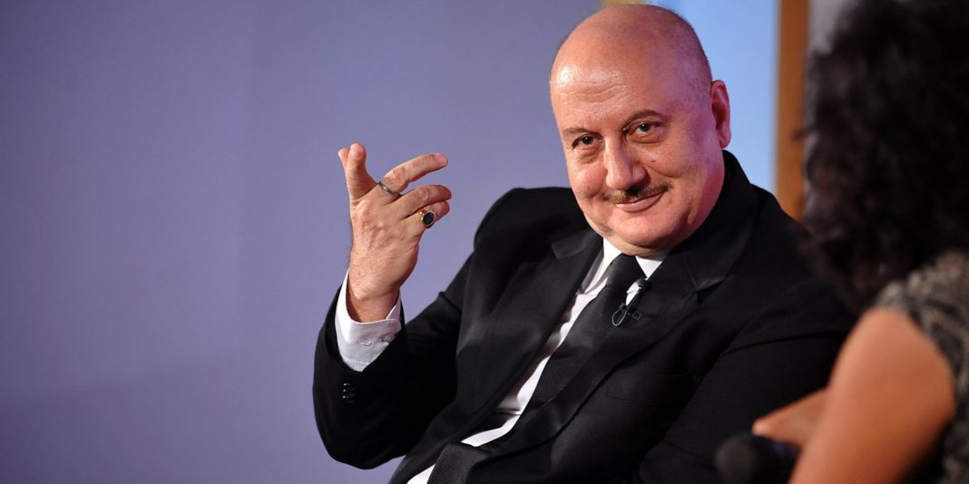 Indian Bollywood actor Anupam Kher announces season 2 of his show The Anupam Kher Show - Kucch Bhi Ho Sakta Hai' in Mumbai late on July 21, 2015. AFP PHOTO        (Photo credit should read STR/AFP/Getty Images)