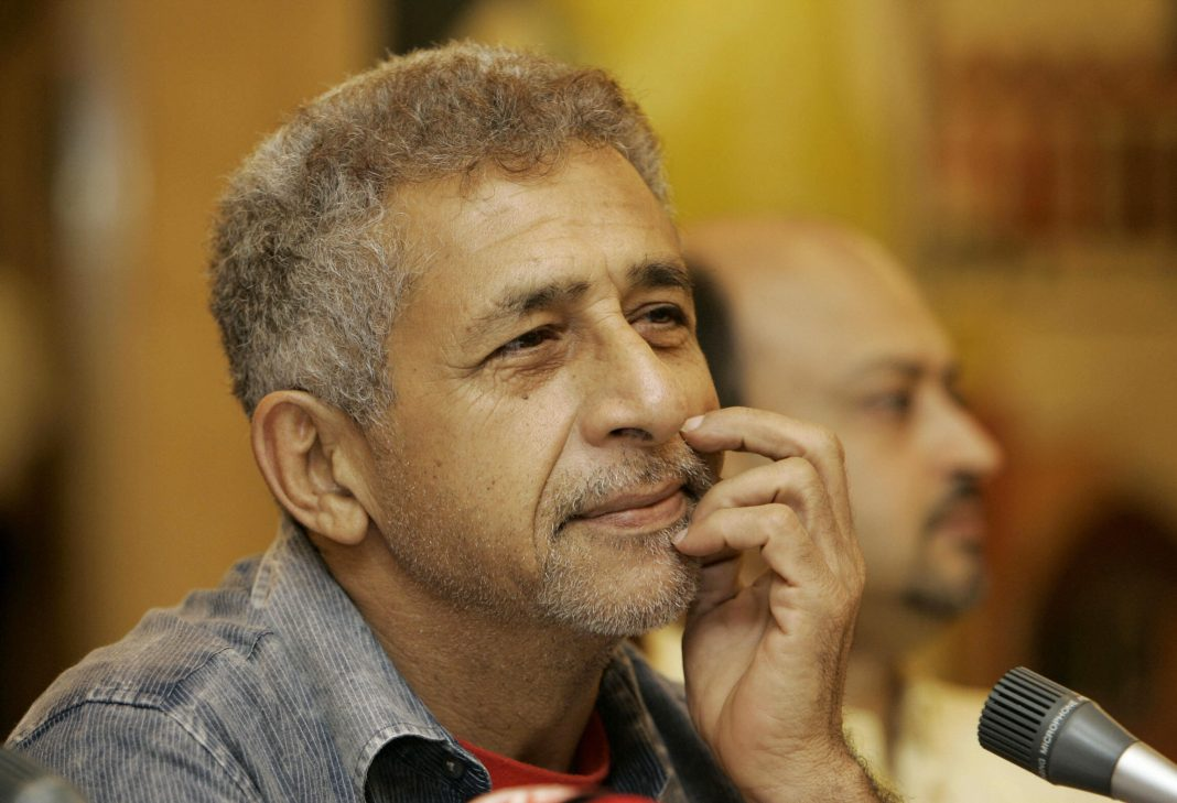 NEW DELHI, INDIA:  Director of the play 'Katha Collage', Naseeruddin Shah listens during a press conference in New Delhi, 24 June 2005. The 'Katha Collage' play, which is a series of three classic tales in Hindi, will be staged as a fundraiser for the India Foundation for the Arts (IFA) at Kamani auditorium in New Delhi.  AFP PTOTO/Prakash SINGH  (Photo credit should read PRAKASH SINGH/AFP/Getty Images)
